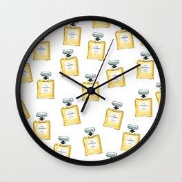 Classic Yellow Parfum Pattern Wall Clock