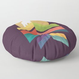 Lingering mountain with golden moon Floor Pillow