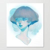 loish Canvas Prints featuring visage - blue by loish