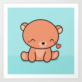 Kawaii Cute Brown Bear With Heart Art Print