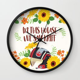 In This House We Say Kriff - Ivory Background Wall Clock