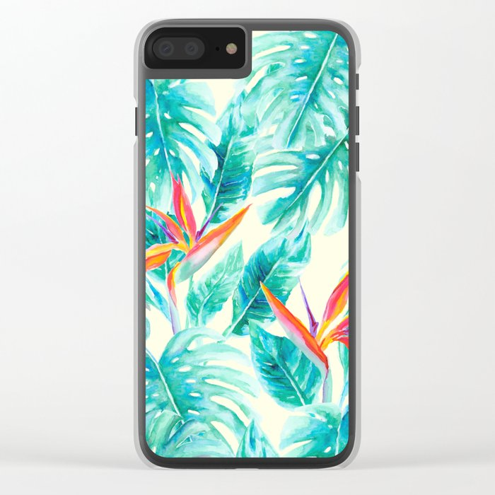 Tropical Paradise Pale Yellow Clear iPhone Case