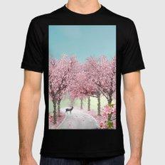 Cherry Blossom Lane MEDIUM Mens Fitted Tee Black