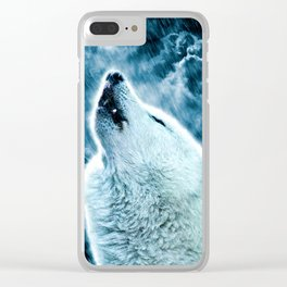 A howling wolf in the rain Clear iPhone Case