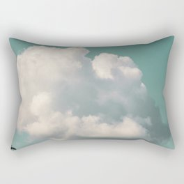 Mint Skies and White Fluffy Clouds #2 Rectangular Pillow