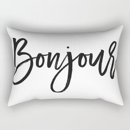 Bonjour Print, French Quote, Bonjour Home Decor, French Poster Rectangular Pillow