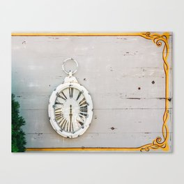 White Antique Clock, Wood Wall, Time Passing, Gone Memories, Retro Art Print Canvas Print
