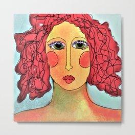 Bad Hair Day Abstract Digital Painting Metal Print