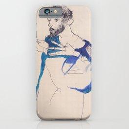 """Egon Schiele """"Gustav Klimt im blauen Malerkittel"""" iPhone Case"""