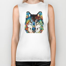 Wolf Art Print - Hungry - By Sharon Cummings Biker Tank