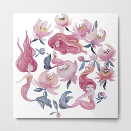 Mini Mermaid Mischief Metal Print