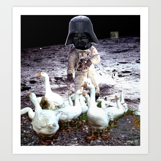 Goats Peter guards goose on the moon... Art Print