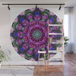 Floral finery - kaleidoscope of blue, plum, rose and green 1650 Wall Mural