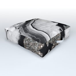 Gray Black White Agate with Silver Glitter #1 #gem #decor #art #society6 Outdoor Floor Cushion