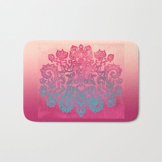Ombre Canvas Folk Art Doodle in aqua, pink & peach Bath Mat