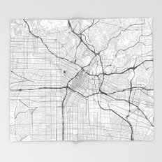 Los Angeles Map Gray Throw Blanket