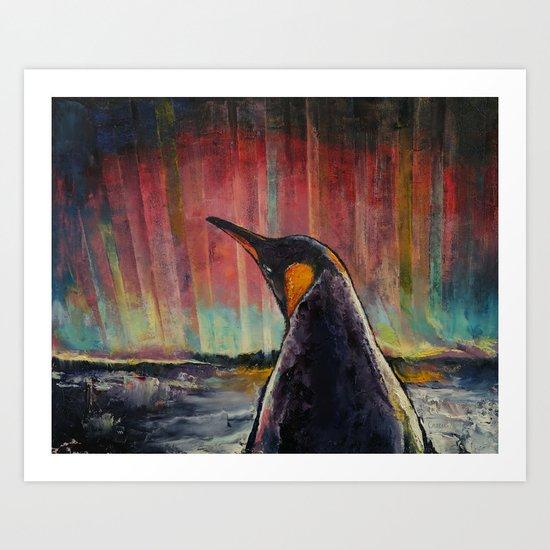Aurora Penguin Art Print