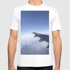 Heavenly Blue Skies Flying White MEDIUM Mens Fitted Tee