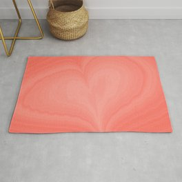 Living Coral Heart Love Marble Cute Pattern St Valentine's Day Color of year 2019 Fine Fractal Art Rug