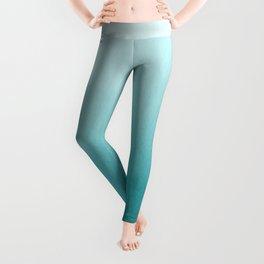 Aqua Teal Turquoise Watercolor Ombre Gradient Blend Abstract Art - Aquarium SW 6767 Leggings