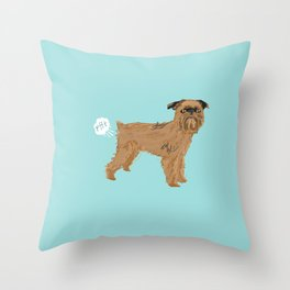 Brussels Griffon dog breed funny dog fart Throw Pillow