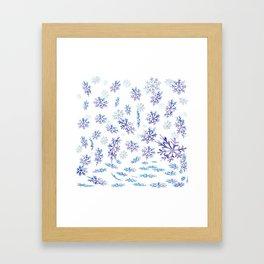 Snowflakes falling Framed Art Print