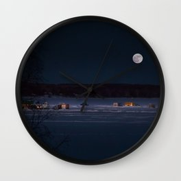 New Year's Ice Fishing Wall Clock
