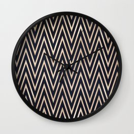 Navy Gold Chevron Pattern Wall Clock