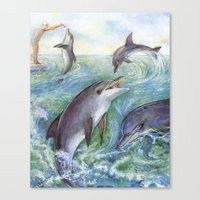 dolphins Canvas Prints featuring Dolphins by Natalie Berman