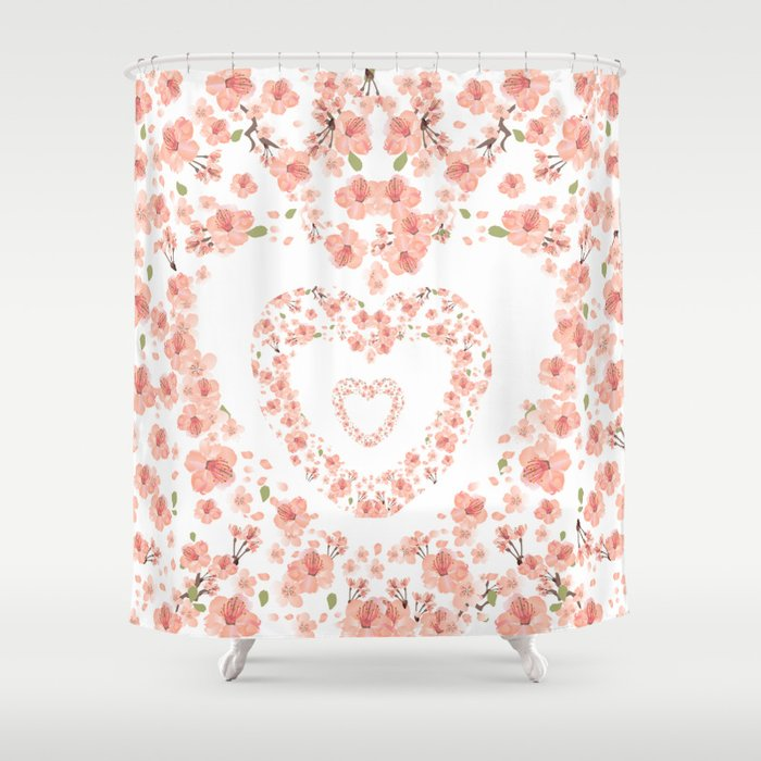 Modern coral pink watercolor valentine\'s hearts floral Shower ...