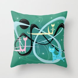 Atomic Rocket Cats In Space Throw Pillow