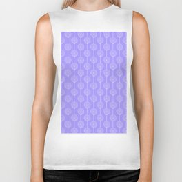 Hand painted geometrical violet  white swirls stripes pattern Biker Tank
