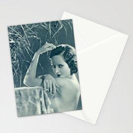 Jazz Age Starlet Merle Oberon portrait black and white photograph / black and white photography Stationery Cards