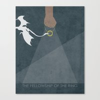 lord of the ring Canvas Prints featuring Lord of the Rings trilogy – The Fellowship of the Ring by MissQuote