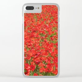 A field of red poppies Clear iPhone Case