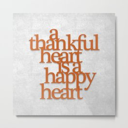 Thankful Heart: Typography Metal Print
