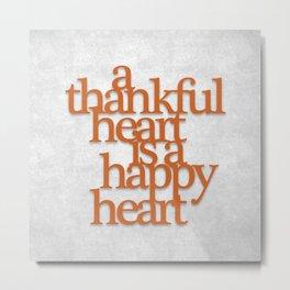Thankful Heart: Typography Metal Print