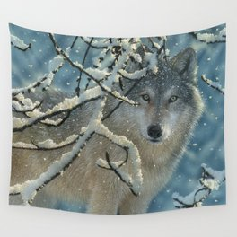 Wolf in Snow - Broken Silence Wall Tapestry