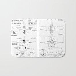 Douglas A-1G Skyraider Schematic Bath Mat