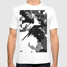 Black Gray and White Abstract White Mens Fitted Tee MEDIUM