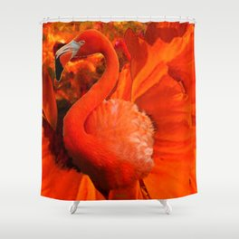 Tropical Saffron Flamingo Orange Floral Fantasy Painting Shower Curtain