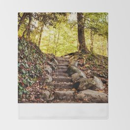 Rock Stairway Cades Cove Tennessee by Alli Gunter Photography Throw Blanket