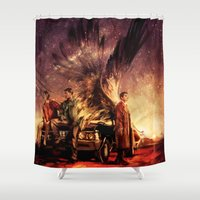 alicexz Shower Curtains featuring Carry On My Wayward Son by Alice X. Zhang