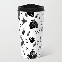 Modern black and white whimsical cute animal cactus balloon black white cartoon illustration pattern Travel Mug