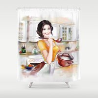 cook Shower Curtains featuring cook by tatiana-teni