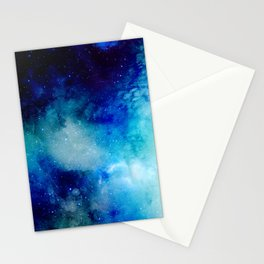 Blue Watercolor Space Pattern Stationery Cards