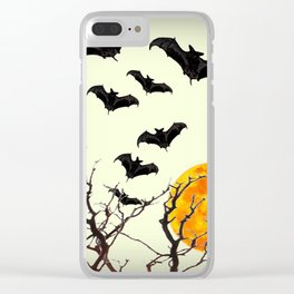 GOTHIC HALLOWEEN FULL MOON BLACK FLYING BATS DESIGN Clear iPhone Case