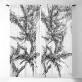 Tropical Palm Tree Black and White Beach Decor Blackout Curtain