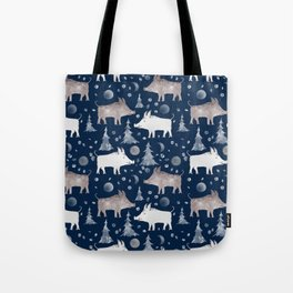 Piglets on a dark blue background with fir trees and snow. Tote Bag