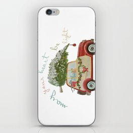 Vintage Christmas car with tree red iPhone Skin